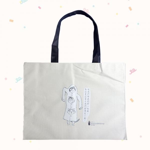 【台灣流浪貓關懷協會】手繪流浪貓牛津布提袋(白色)