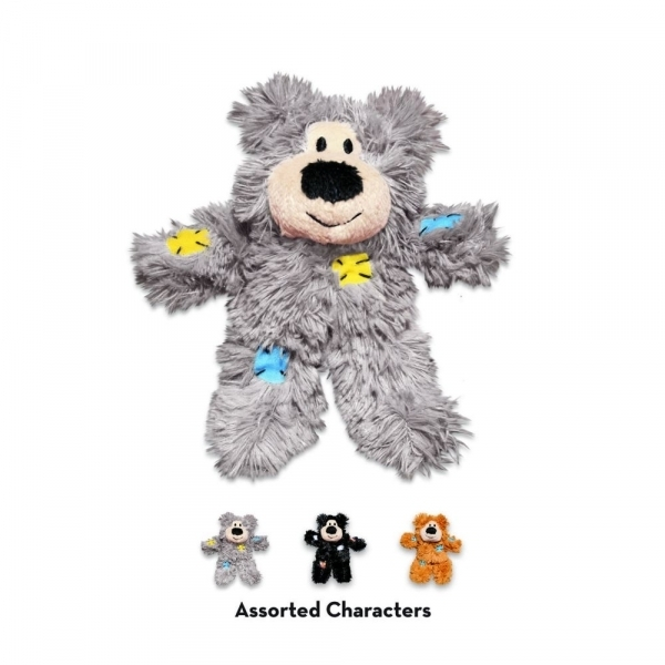 【KONG】貓咪拼布熊玩具(內含貓草/多色任選) Patchwork Bears
