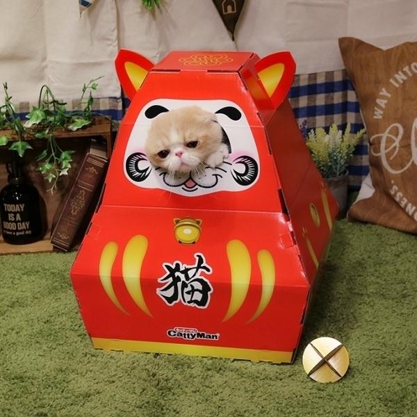 【CattyMan】貓用折疊式遊玩紙箱/貓窩-不倒翁(附紙滾球)