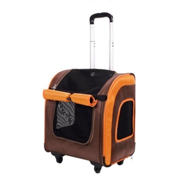 【IBIYAYA】新LISO後背平行寵物拉桿包(咖啡橘)