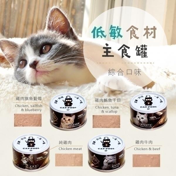 【貓侍Catpool】低敏食材天然主食罐80g(24入)(2口味各12入)