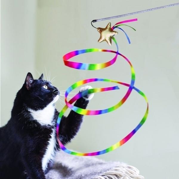 【KONG】彩虹緞帶音效逗貓棒 Stellar Tease