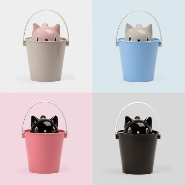 買就送飼料專用保鮮碳片【Crick】童趣貓咪造型儲糧桶/飼料桶(附大杓子)