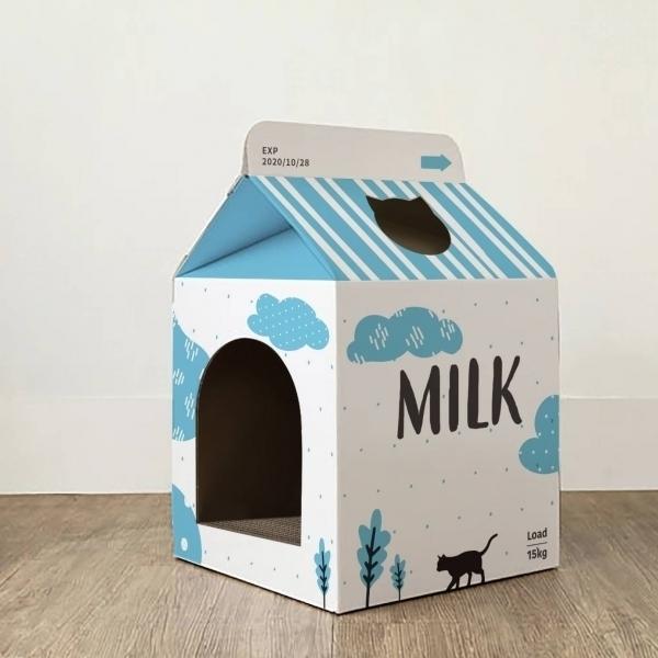 【胖貓嚴選】牛奶盒貓屋 (內附貓抓板一組)