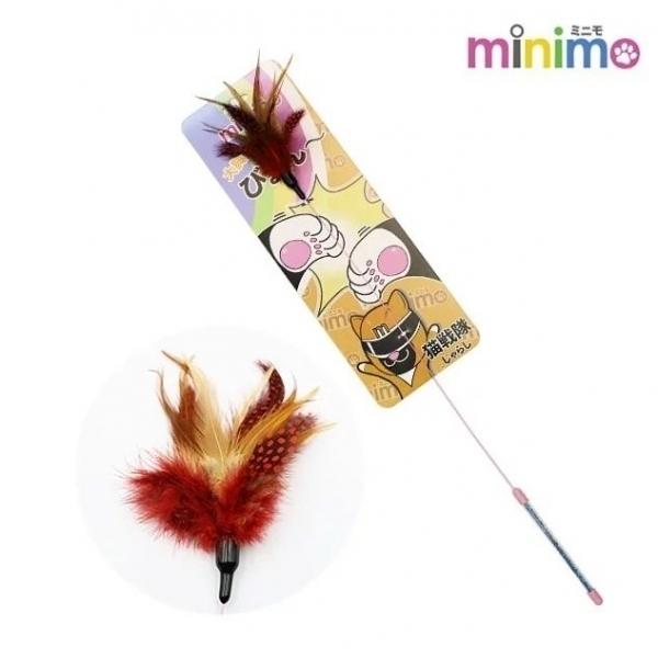 【minimo】貓戰隊逗貓棒-橘戰士(短柄紅羽毛)