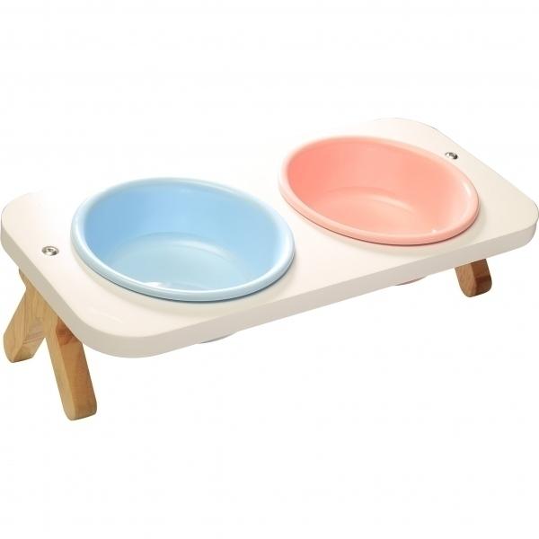 【CatFeet】竹製高叉斜面雙碗組(多色任選)