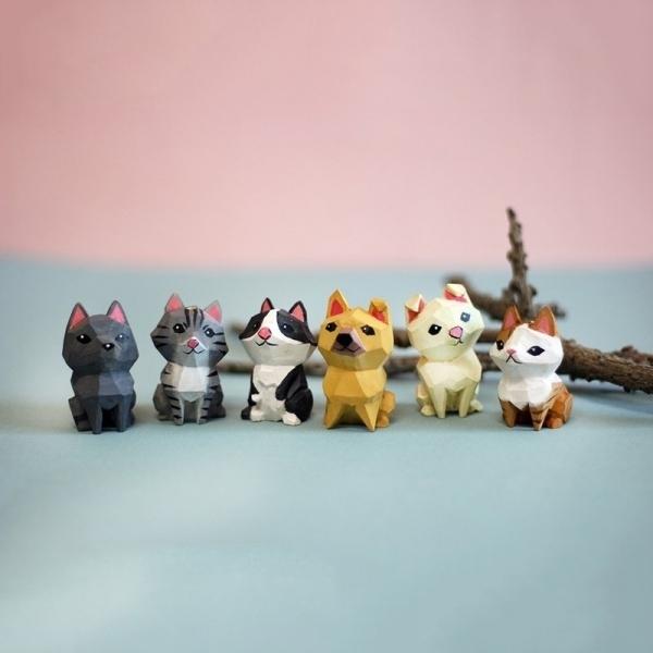 【黑熊白熊創意社】台灣米克斯犬貓小木雕擺飾(盒裝)